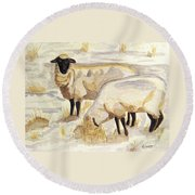 Round Beach Towel featuring the painting A Peaceful Winter by Angela Davies