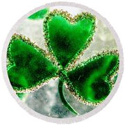 A Shamrock On Ice Round Beach Towel by Angela Davies
