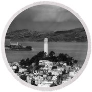 A View Of Coit Tower And Alcatraz Round Beach Towel