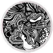Abstract Round Beach Towel by HD Connelly