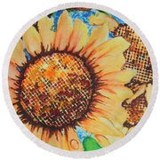 Round Beach Towel featuring the painting Abstract Sunflowers by Chrisann Ellis
