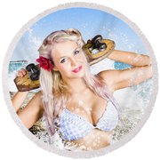 Active Sexy Summer Beach Babe With Skateboard Round Beach Towel