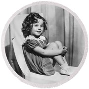 Actress Shirley Temple Round Beach Towel by Underwood Archives