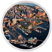 Aerial Morning View Of Harbor Round Beach Towel