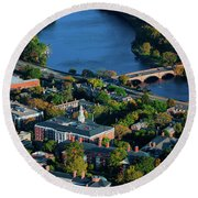 Aerial View Of Cambridge And Anderson Round Beach Towel