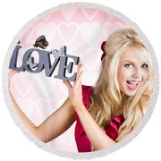Affectionate Blonde Woman With Love Butterflies Round Beach Towel