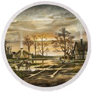 Round Beach Towel featuring the painting After The Rain by Ken Wood