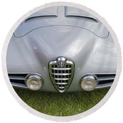 Round Beach Towel featuring the photograph Alfa Romeo 1900 Ss Zagato Berlinetta 1956 by Maj Seda