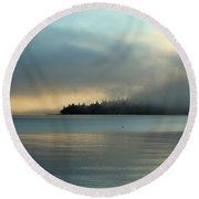 An Island In Fog Round Beach Towel