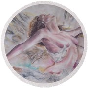 Angel Burst Round Beach Towel by Peter Suhocke