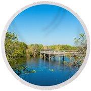 Anhinga Trail Boardwalk, Everglades Round Beach Towel