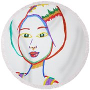 Round Beach Towel featuring the painting Anime Asian Girl by Stormm Bradshaw