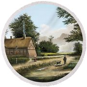 Anne Hathaway's Cottage Round Beach Towel