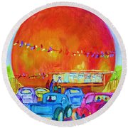 Round Beach Towel featuring the painting Antique Cars At The Julep by Carole Spandau
