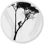 Arborist At Work Round Beach Towel