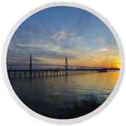 Sunset Over The Charleston Waters Round Beach Towel by Dale Powell