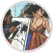Artist At Work Round Beach Towel
