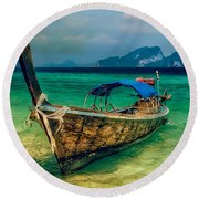 Asian Longboat Round Beach Towel