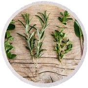 Assorted Fresh Herbs Round Beach Towel