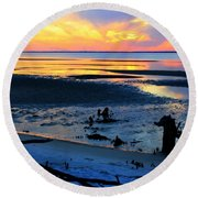 At A Days End Round Beach Towel