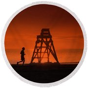 At The Beach In The Morning Round Beach Towel