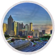 Atlanta Sunset Reflections Round Beach Towel by Reid Callaway