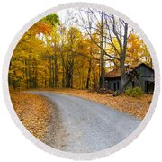 Autumn And The Old House Round Beach Towel by Nick Kirby