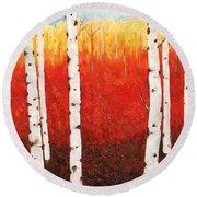 Autumn Fire Round Beach Towel
