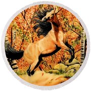 Autumn Frolick Round Beach Towel by Cheryl Poland