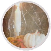 Round Beach Towel featuring the photograph Autumn Light by Heidi Smith