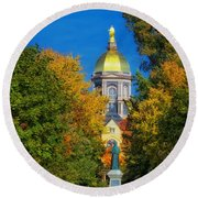 Autumn On The Campus Of Notre Dame Round Beach Towel