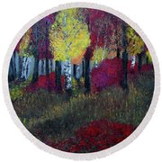 Autumn Peak Round Beach Towel