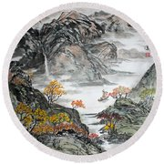 Round Beach Towel featuring the painting Autumn  by Yufeng Wang