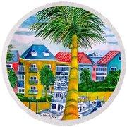Bahamian Blues Round Beach Towel