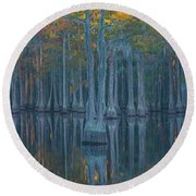 Bald Cypress Trees In A Forest, George Round Beach Towel