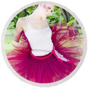 Ballerina Stretching And Warming Up Round Beach Towel