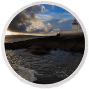 Ballinacourty Lighthouse, Dungarvan Round Beach Towel