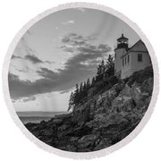 Bass Harbor Head Light Sunset  Round Beach Towel