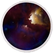 Bat Nebula Round Beach Towel