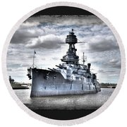 Battleship Texas Round Beach Towel