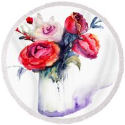 Beautiful Roses Flowers Round Beach Towel