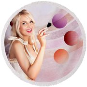 Beauty Woman Using Rouge Blush Color Pallet Round Beach Towel