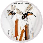 Round Beach Towel featuring the painting Beeing Present by Bill Searle