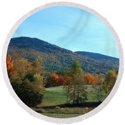 Round Beach Towel featuring the photograph Belknap Mountain by Mim White