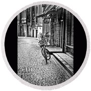 Bicycle And Sparrow 2  Round Beach Towel