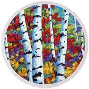 Birches In Abstract By Prankearts Round Beach Towel