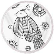 Bird Dove Round Beach Towel by Neeti Goswami