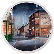 Round Beach Towel featuring the painting Black Country Village Centre by Ken Wood