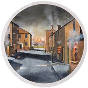 Black Country Village From The Boat Yard Round Beach Towel