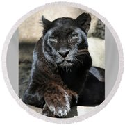 Black Leopard Round Beach Towel